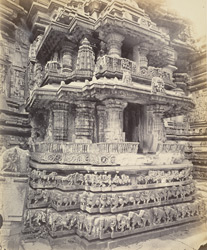 Views in Mysore. Bailoor Temple [Chennakeshava Temple, Belur]. Detail of small shrine on base of tower